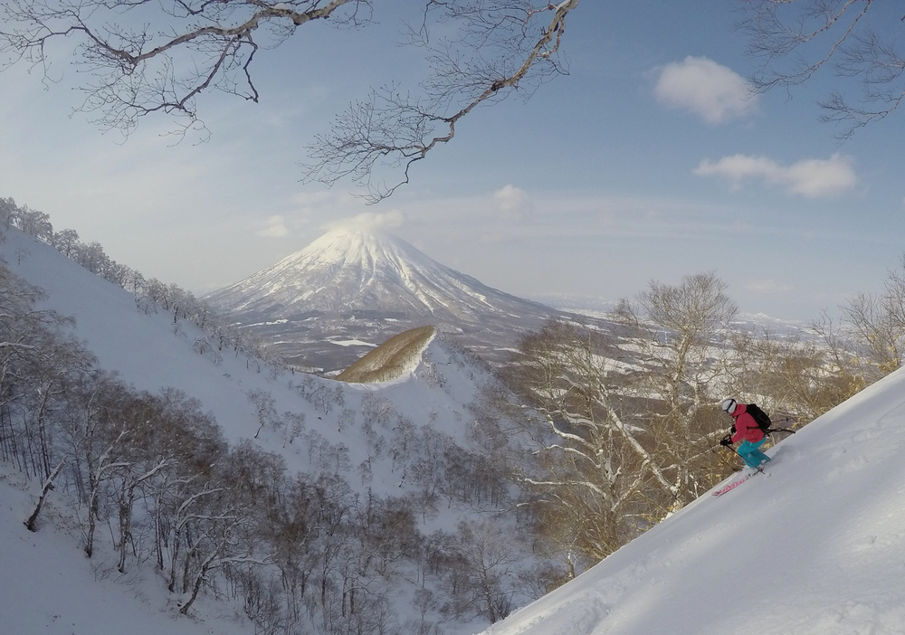 A perfect weather day out heli skiing on Shiribetsu in Hokkaido. There was no need to layer up this day!