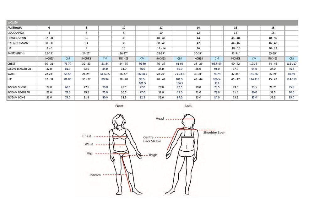 womens size chart pure brandz
