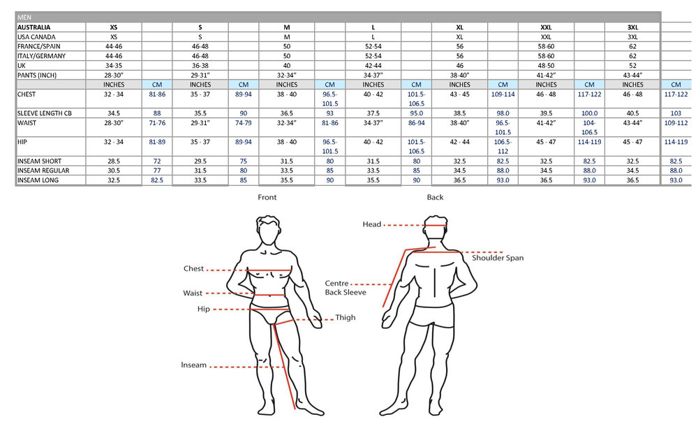 mens size chart pure brandz