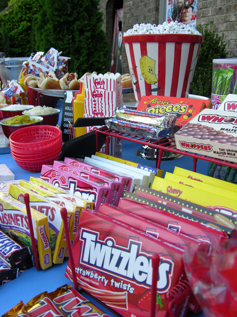 Make an authentic drive-in style snack bar with movie candy, popcorn, and other snacks.