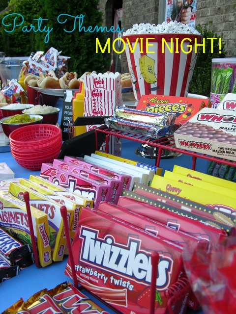 Plan an outdoor movie night party complete with snack bar