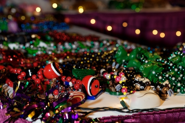Mardi Gras beads for a party
