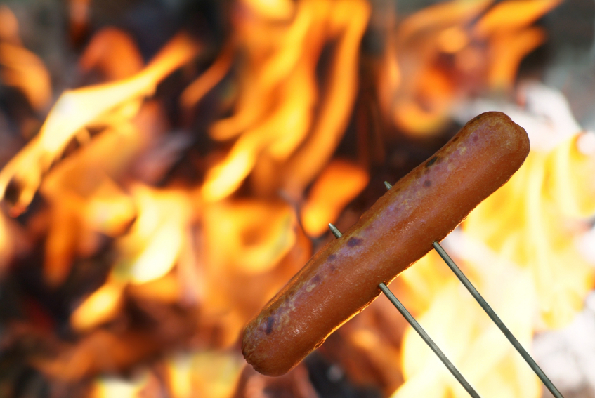 Make sure adults help the kids with any sharp objects used to grill or roast hot dogs and there is always plenty of adult supervision around the fire.