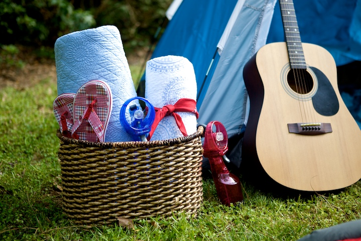Quilts, blankets, sleeping bags, plus other camping equipment like these inexpensive pop-up tents are all you need for a backyard camping party.
