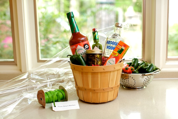 Add a jar of homemade pickled okra, pickled green beans, or pepper sauce to a Bloody Mary gift basket- perfect for holiday giving.