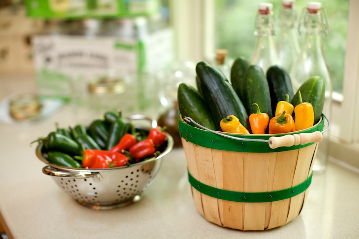 Baskets of produce is a functional decoration; use them for canning and pickling.