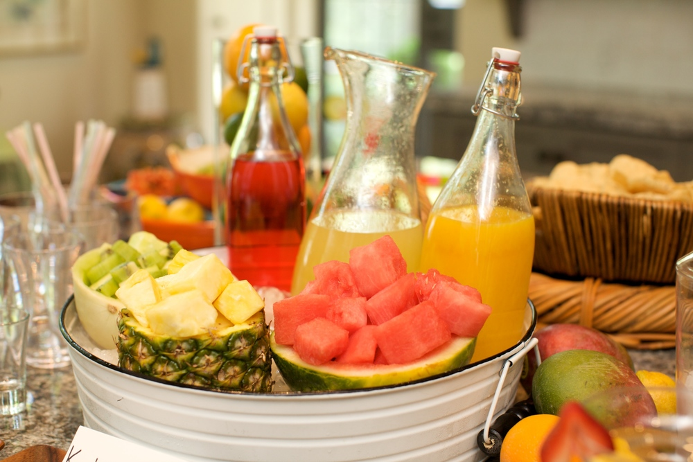 Offer guests lots of fresh fruit  and juices for their frozen margaritas. Watermelon, pineapple, and mango are always favorites.
