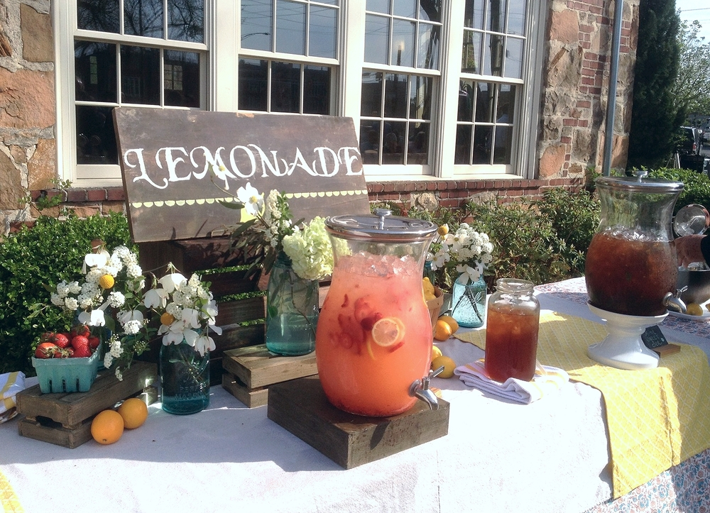 Creating a lemonade station will give your guests lots of choices and allow them to serve themselves making beverage service a lot easier!