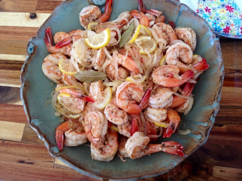 My most popular recipe and probably my favorite to serve at a party is the Citrus Pickled Shrimp I made on Food Network Star. The beautiful bowl is by my friend Tena Payne of  Earthborn Pottery .