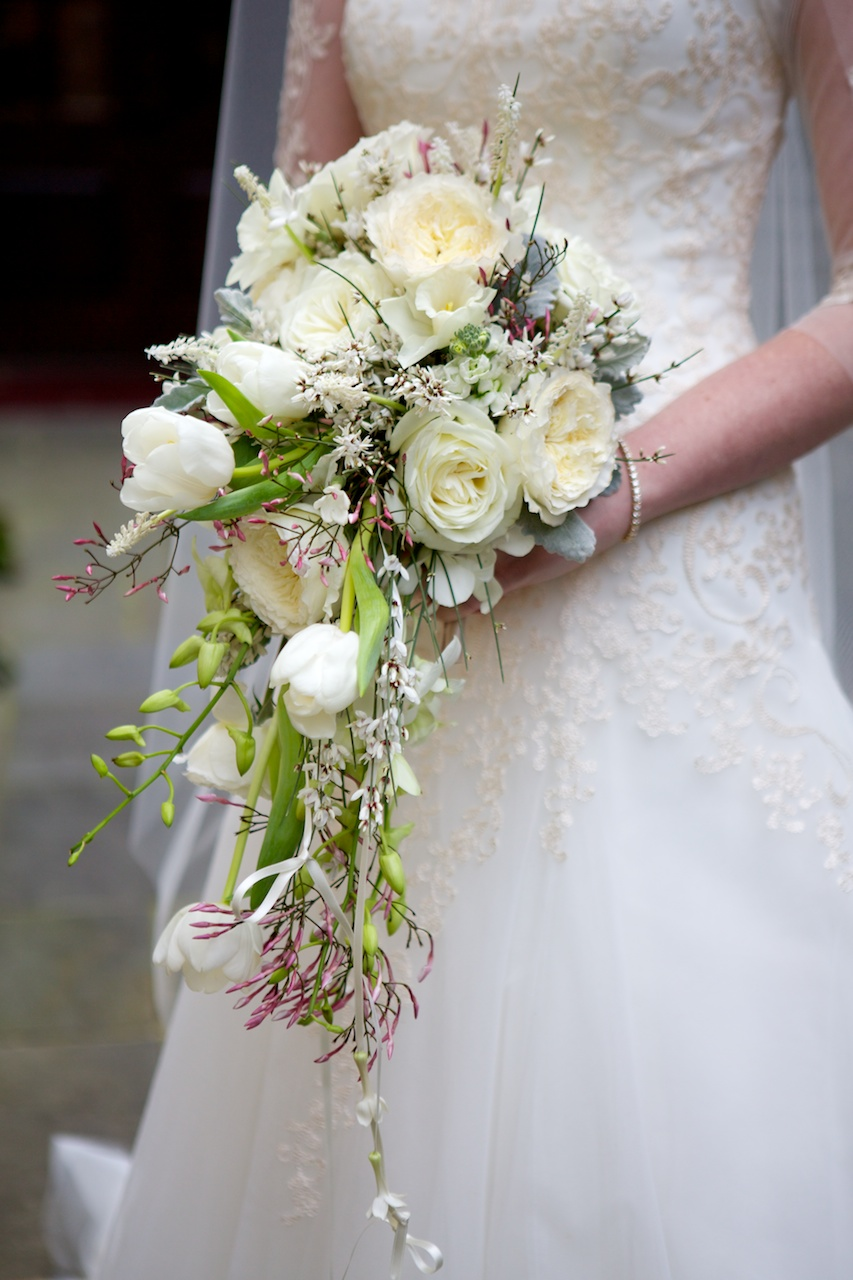 An all white bouquet looks fresh and modern, not dated when you use different blooms to add depth and texture. Photo: Arden Photography