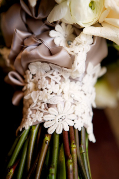Lace from mom's wedding gown adds an elegantly sentimental detail. Photo: Robin Proctor Photography