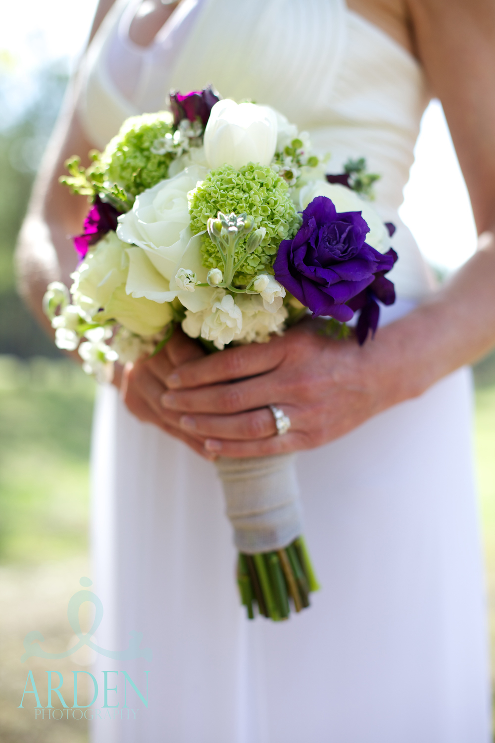 "Adding a touch of blue to your bouquet is the new ""something blue"". Photo: Arden Photography"