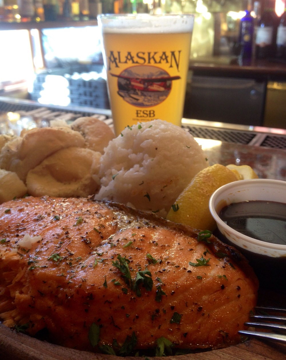 The Cedar Planked Salmon and an Alaskan White from Twisted Fish in Juneau.