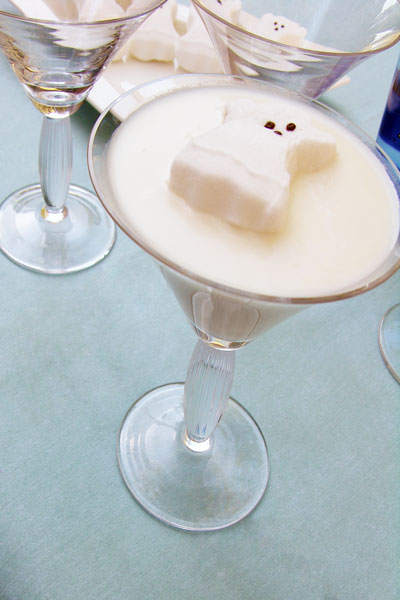 "Martie's Halloween Ghost Martini- a wonderful dessert cocktail. The flavor is sweet and creamy and tastes exactly like a marshmallow. The calories (and the alcohol content) make this one a ""one and done"" kind of drink but they are delicious!"