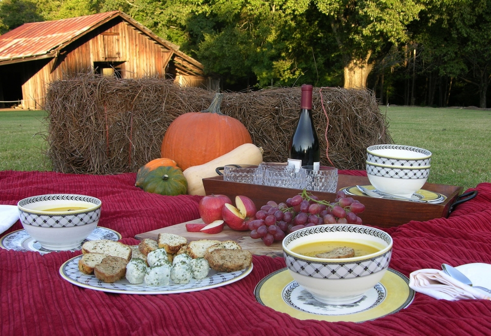 Roasted Butternut Squash Soup in a thermos along with some goat cheese truffles, toasted crostini, and fresh fruit. Add a bottle of wine and you're ready for a fall picnic or apple picking party!
