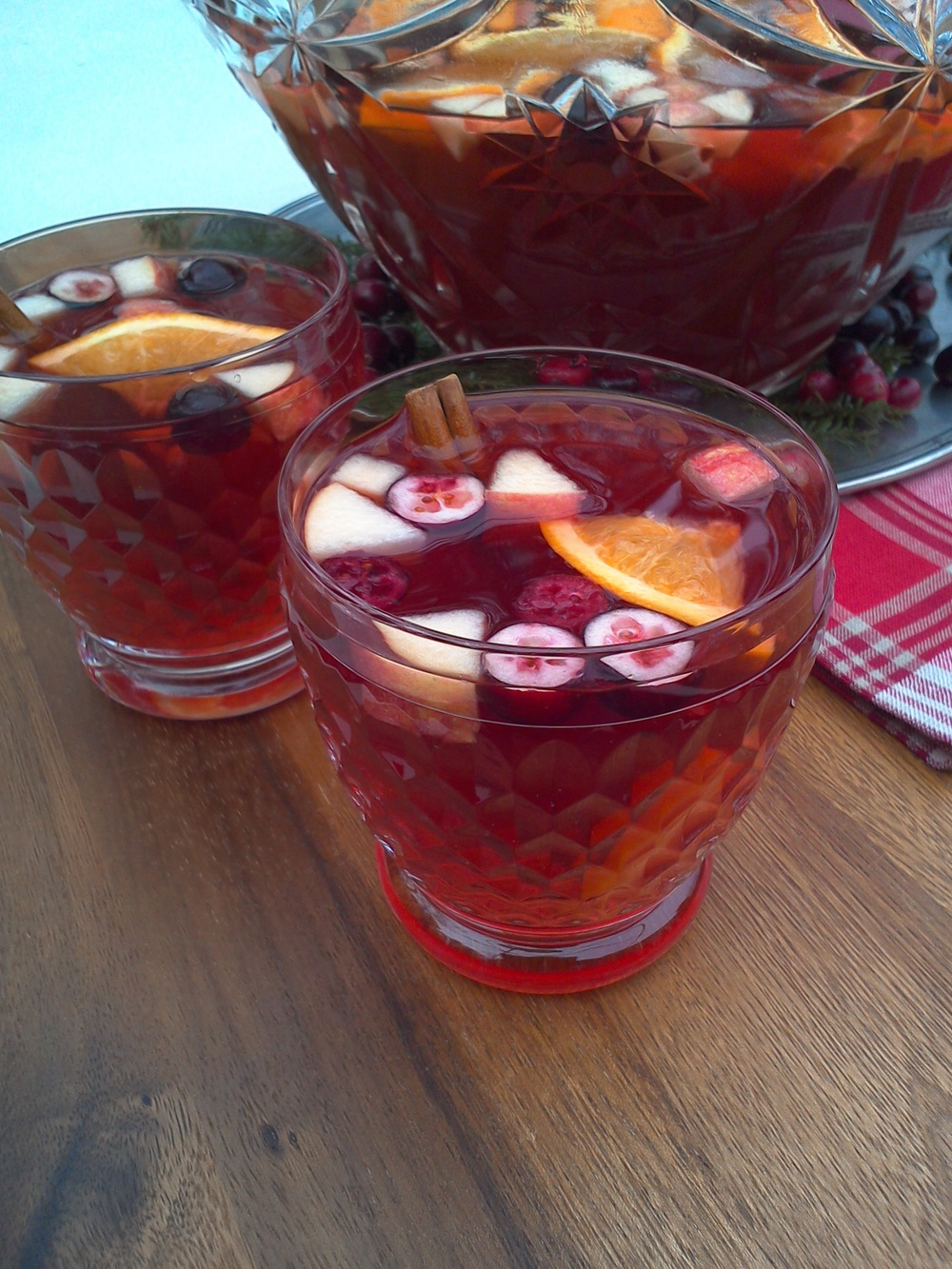 winter sangria with cranberry, apple and cinnamon punch bowl recipe MartieDuncan.com