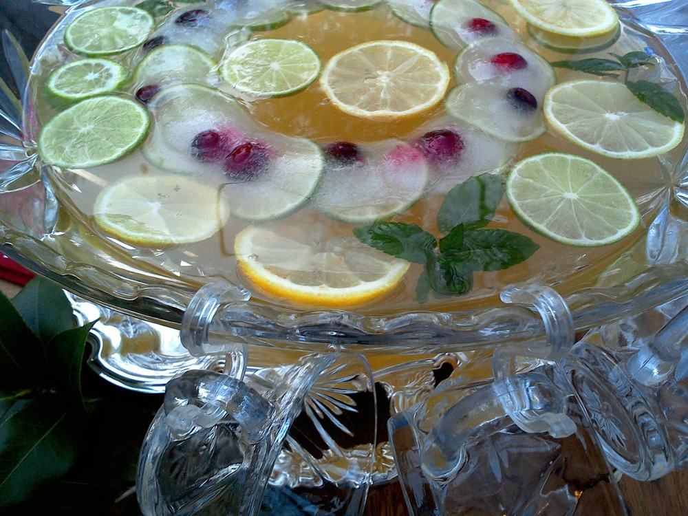 lemon lime champagne punch bowl recipe MartieDuncan.com