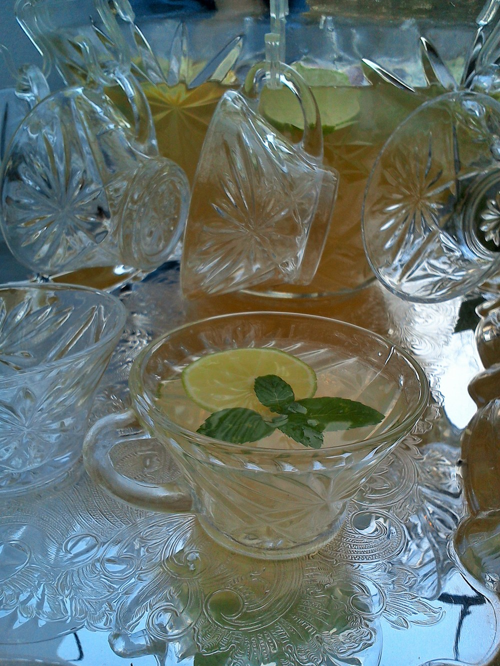 lemon lime champagne punch bowl recipe from MartieDuncan.com