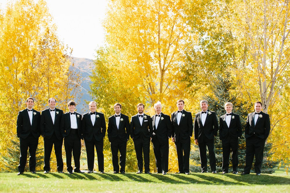 groomsmen outdoors Aspen wedding fall colors
