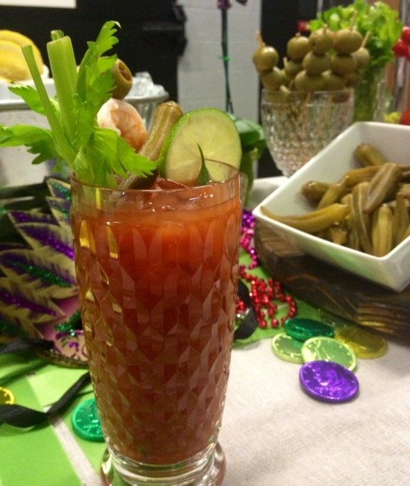 Let your guests build their own Bloody Mary with garden fresh veggies, swimmers like shrimp or oysters and a variety of different ways to add heat- from hot sauce to peppers.