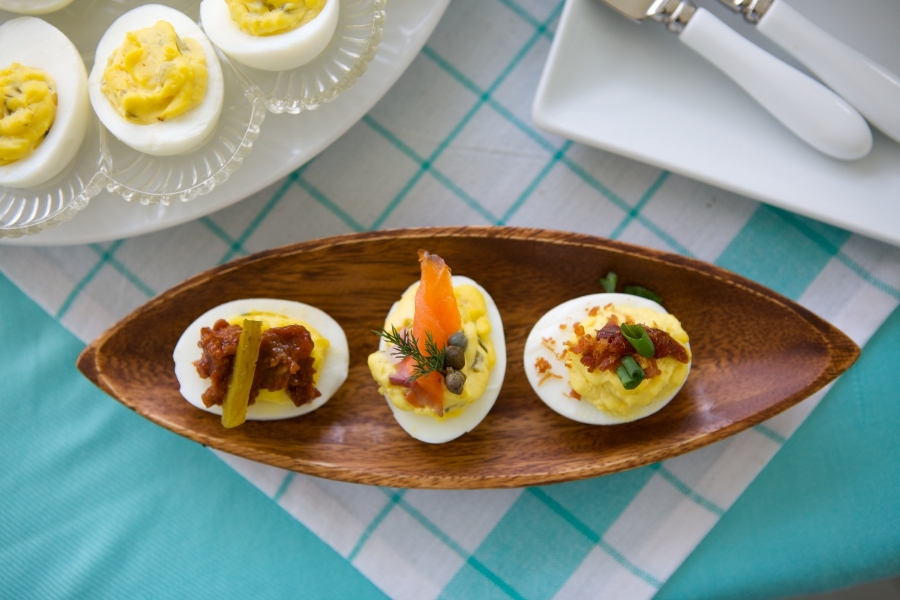 Deviled eggs with assorted toppings. Photo: Arden Photography