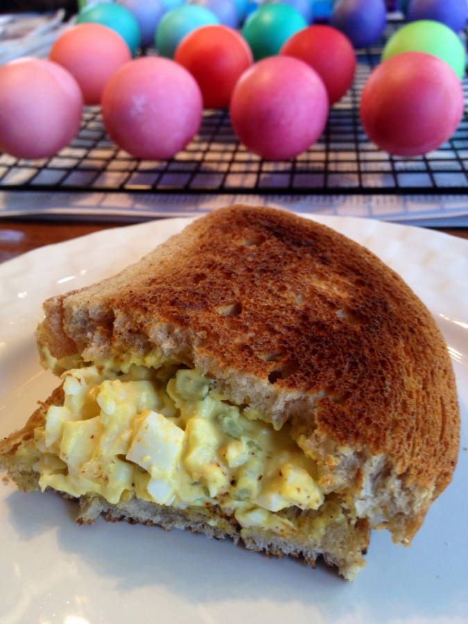 toasted egg salad sandwiches using hard boiled Easter eggs