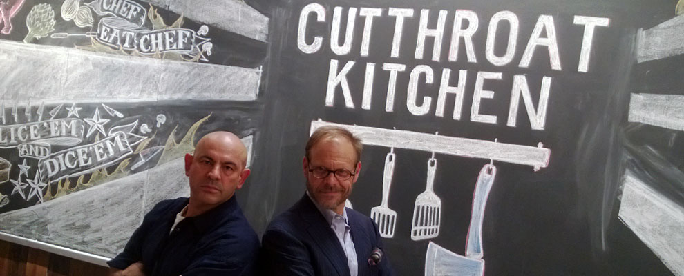 The dastardly duo: Simon Majumdar and Alton Brown of Cutthroat Kitchen.