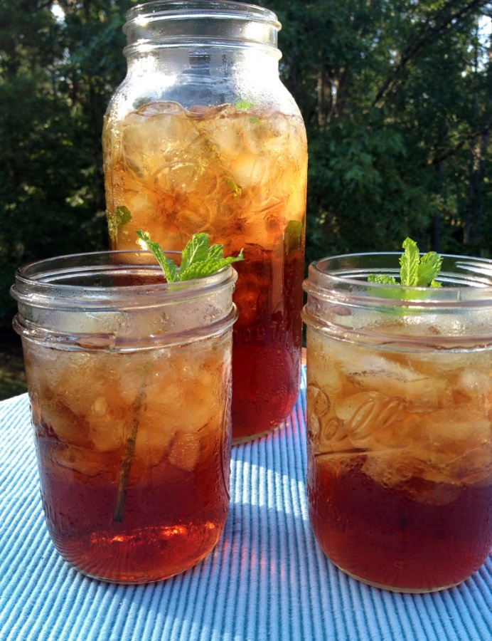 Summer in the South: Mint Sweet Tea with wild mint from the yard is a treat on a hot day!