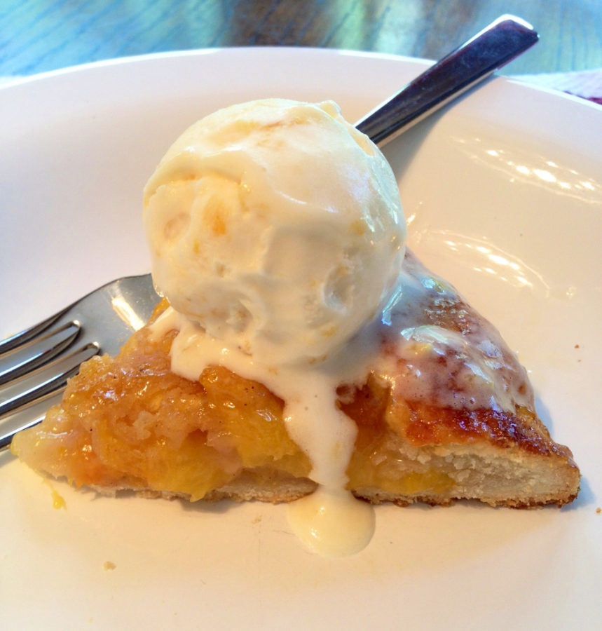 Double Peach pie and homemade peach ice cream
