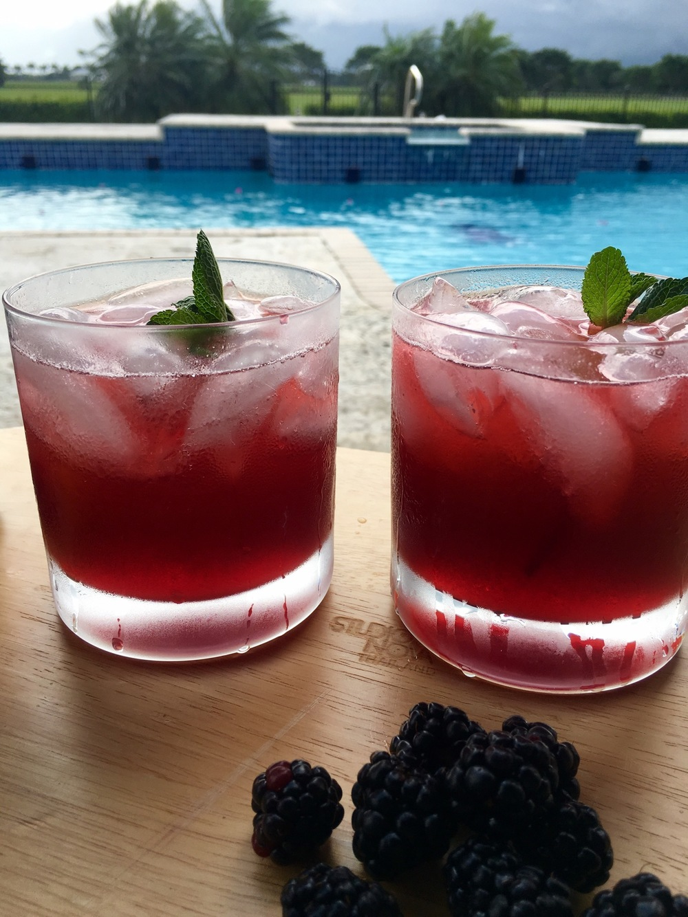 Bourbon mint and blackberry cocktail