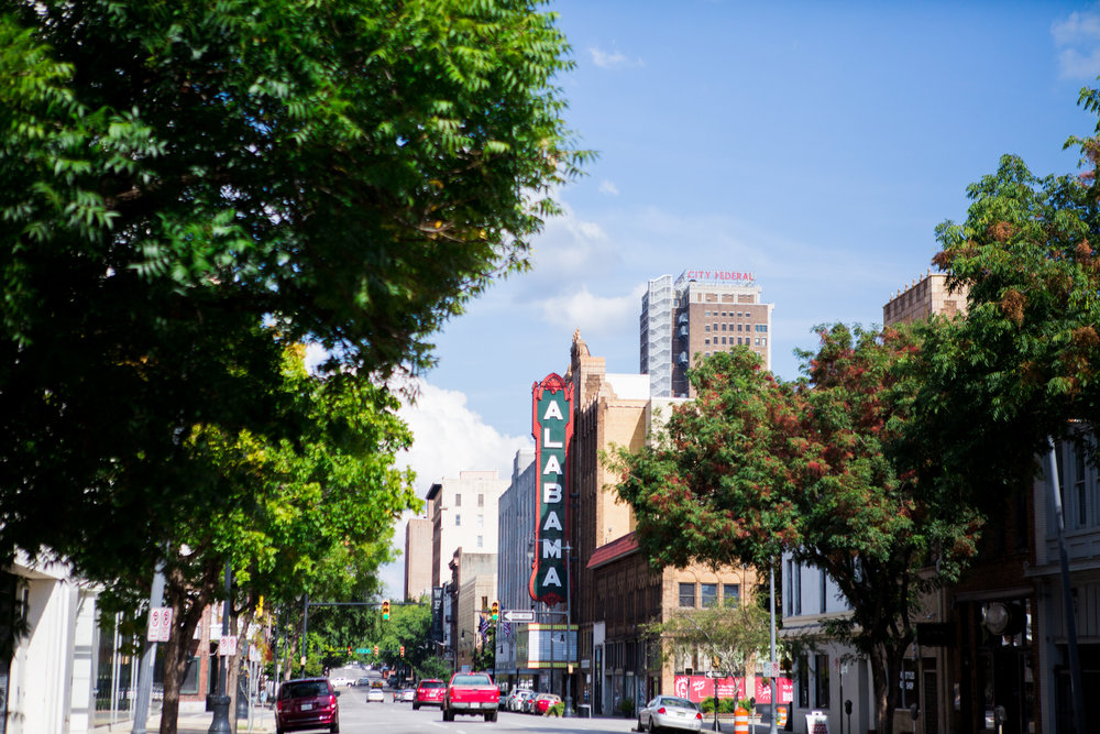 Downtown Birmingham Alabama theater copyright Alabama Cravings