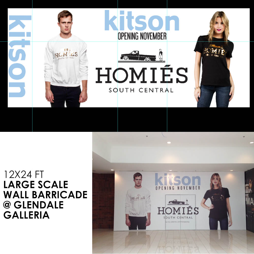 12x24 FT Large scale wall barricade @Glendale Galleria for new Kitson retail store.