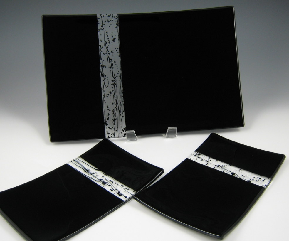 black window platter & plates