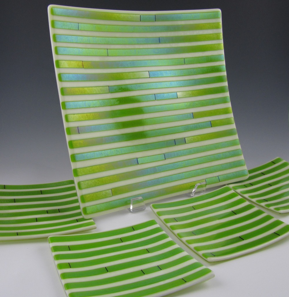iridescent bamboo platter & plates