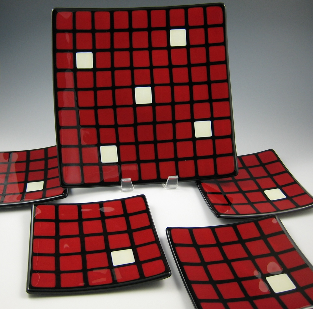red check platter & plates