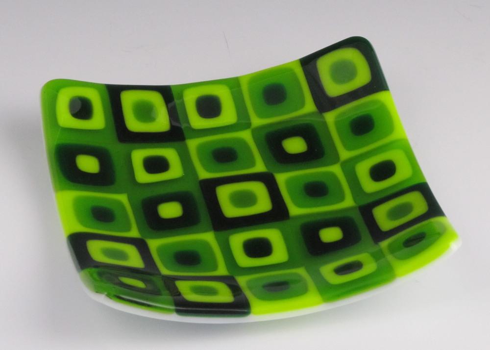 green tile check dish