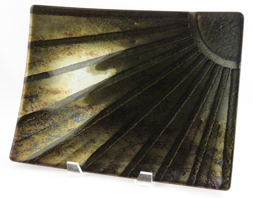 gold iridescent sun platter