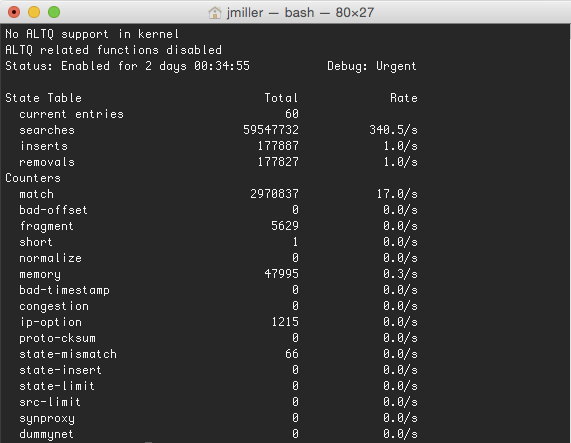 Output of pfctl -s info. Giving you a listing of how effective is your firewall ruleset.