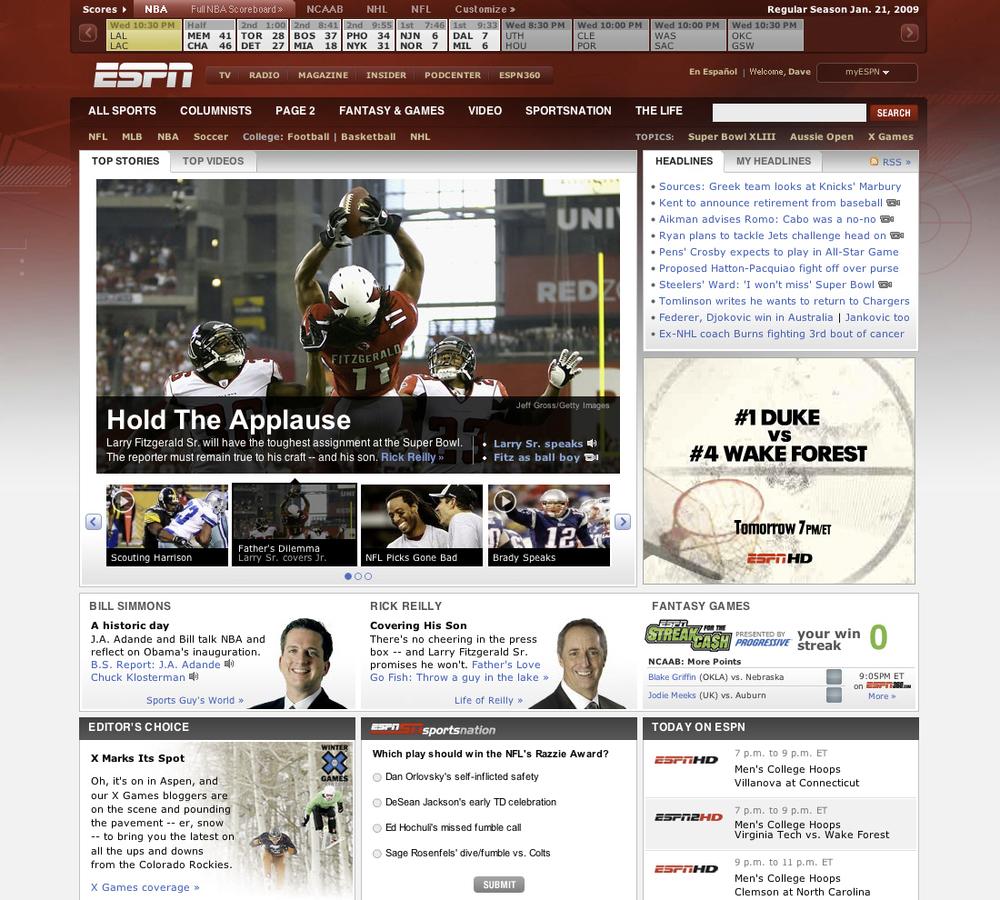 ESPN.com Homepage