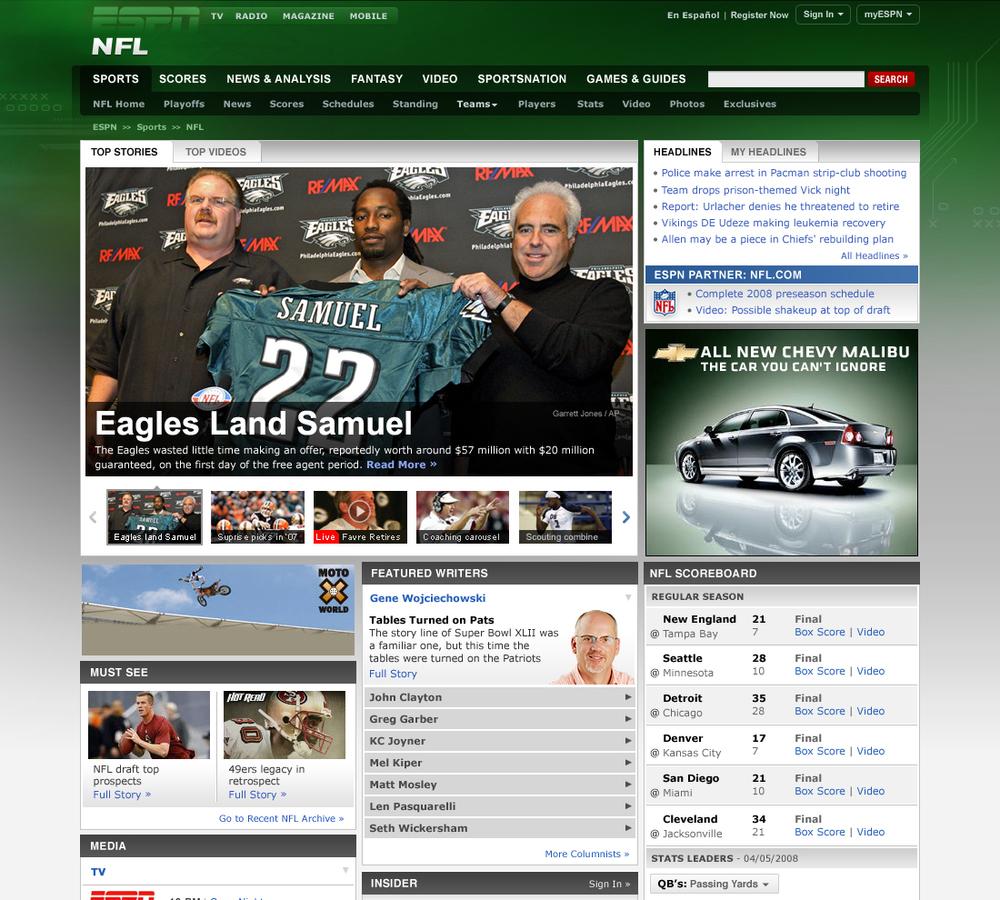 ESPN.com NFL Front Page