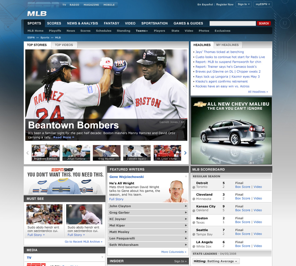 ESPN.com MLB Front Page