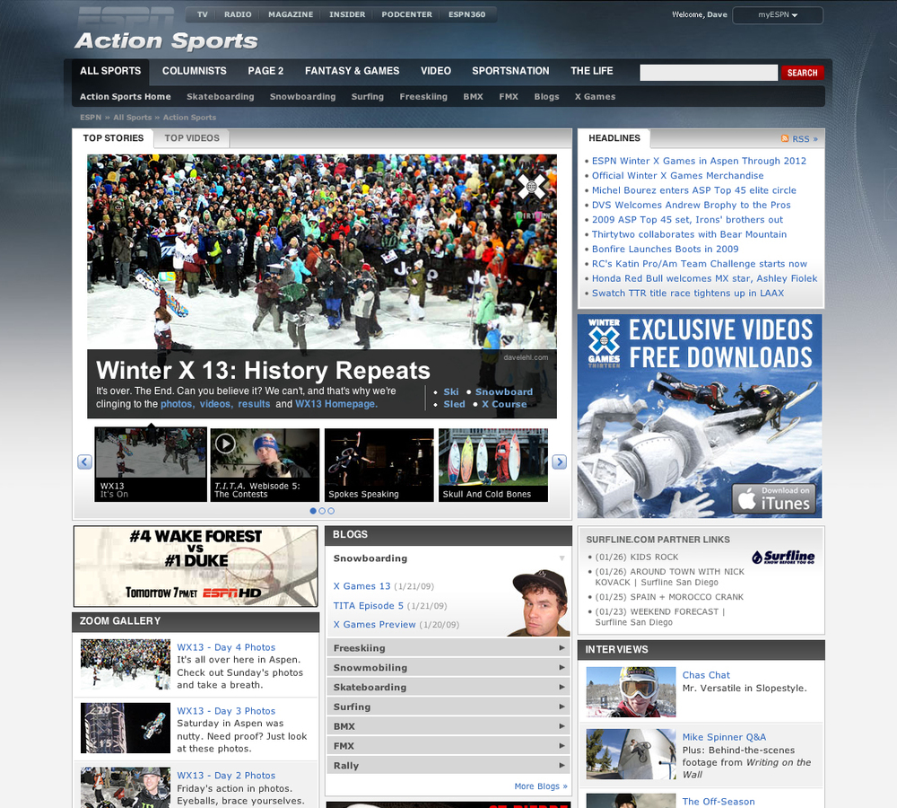 ESPN.com Action Sports Front Page