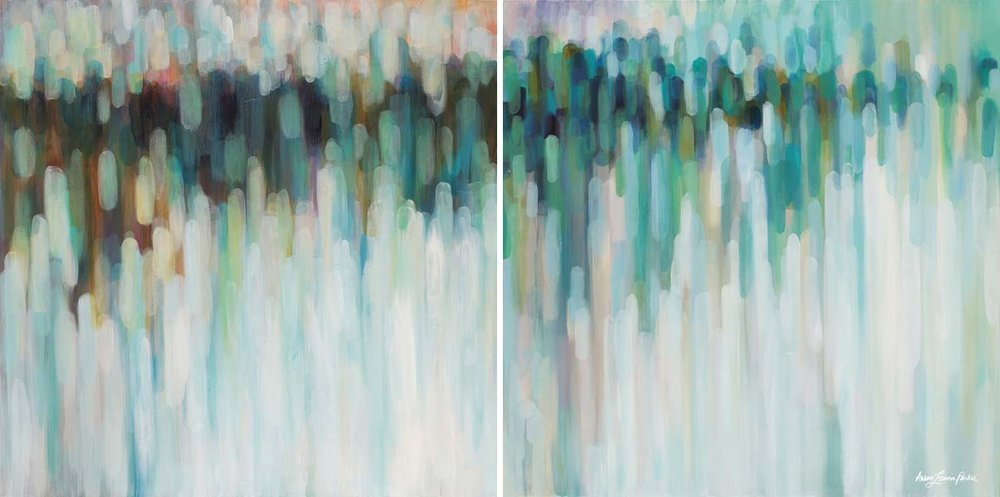 "aurora lights diptych 40""x40"" each"