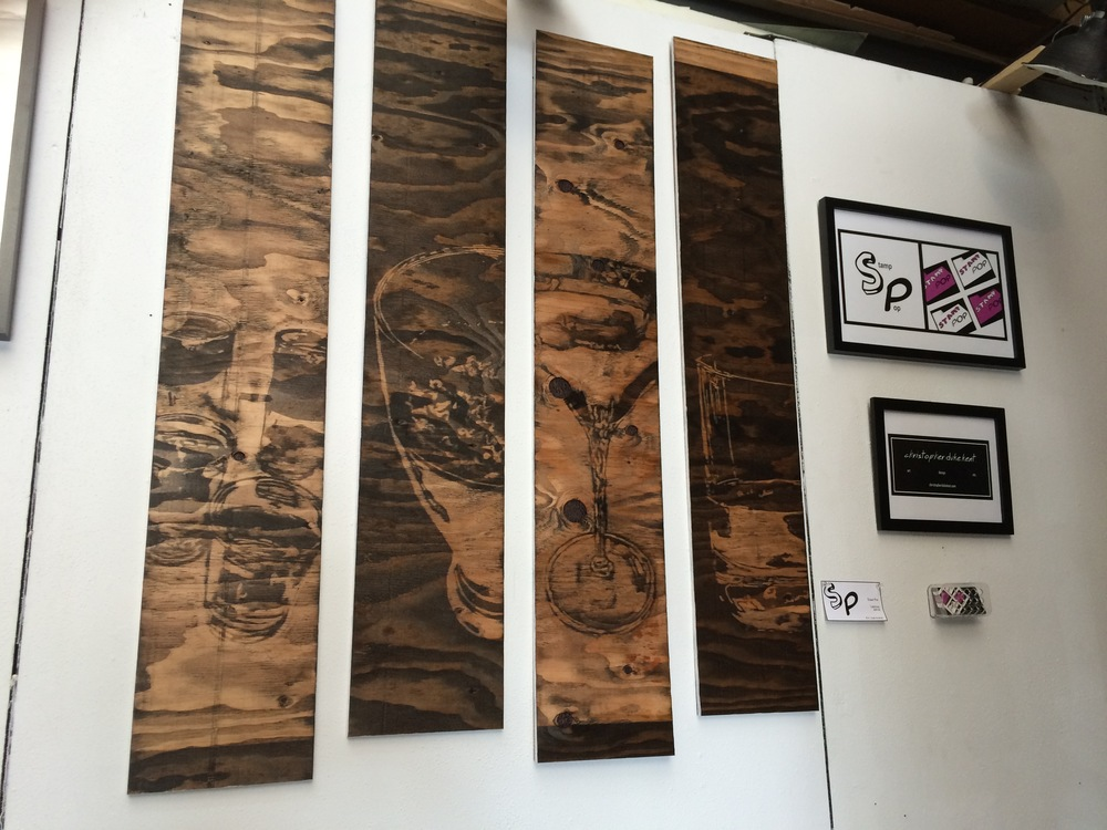 "Completed wood stain set called 'Libations' - 4-9""x48"" pieces"