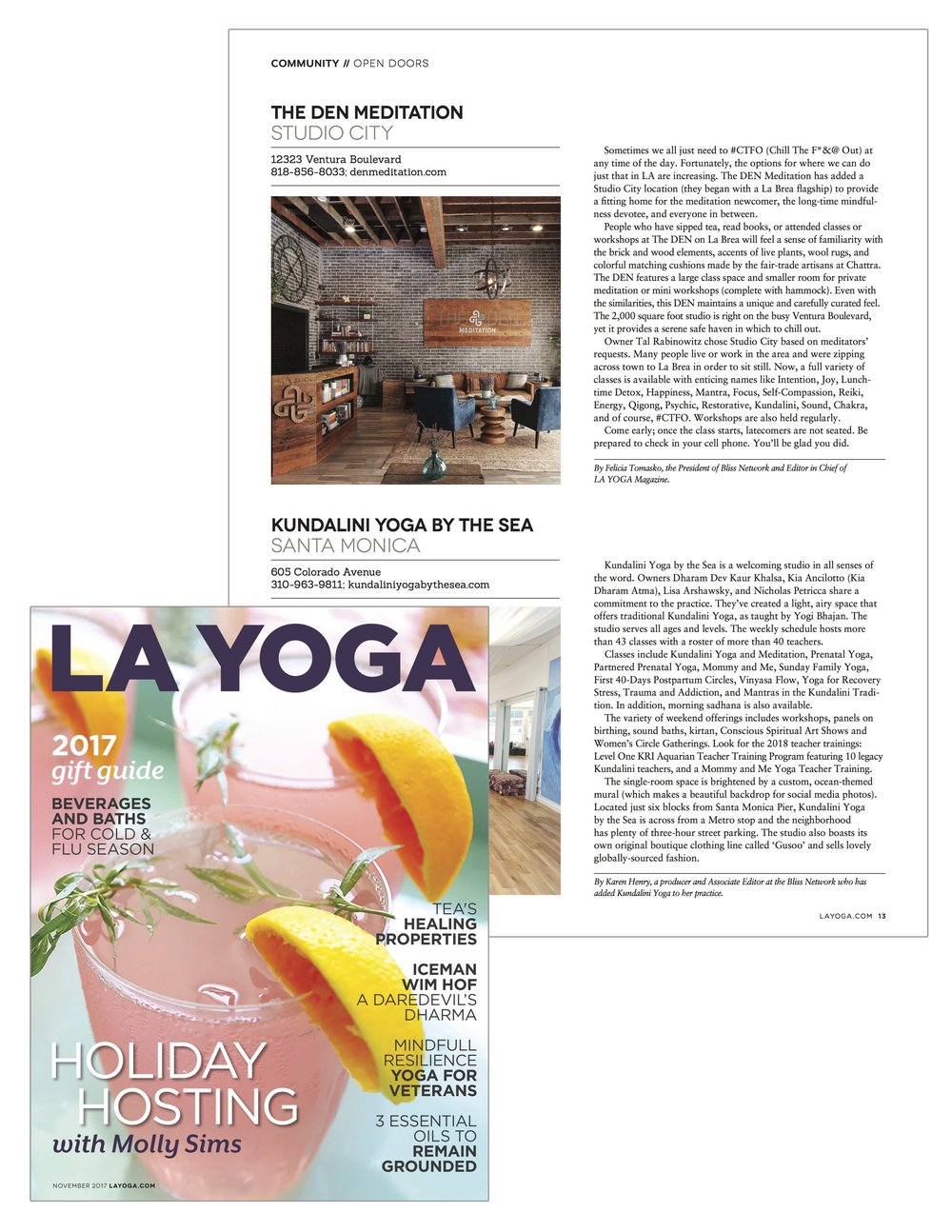 November 2017 - LA Yoga Magazine - The DEN.jpg