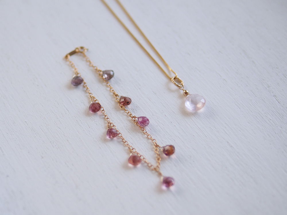 Tourmaline (Bracelet), Rose Quartz (Necklace)