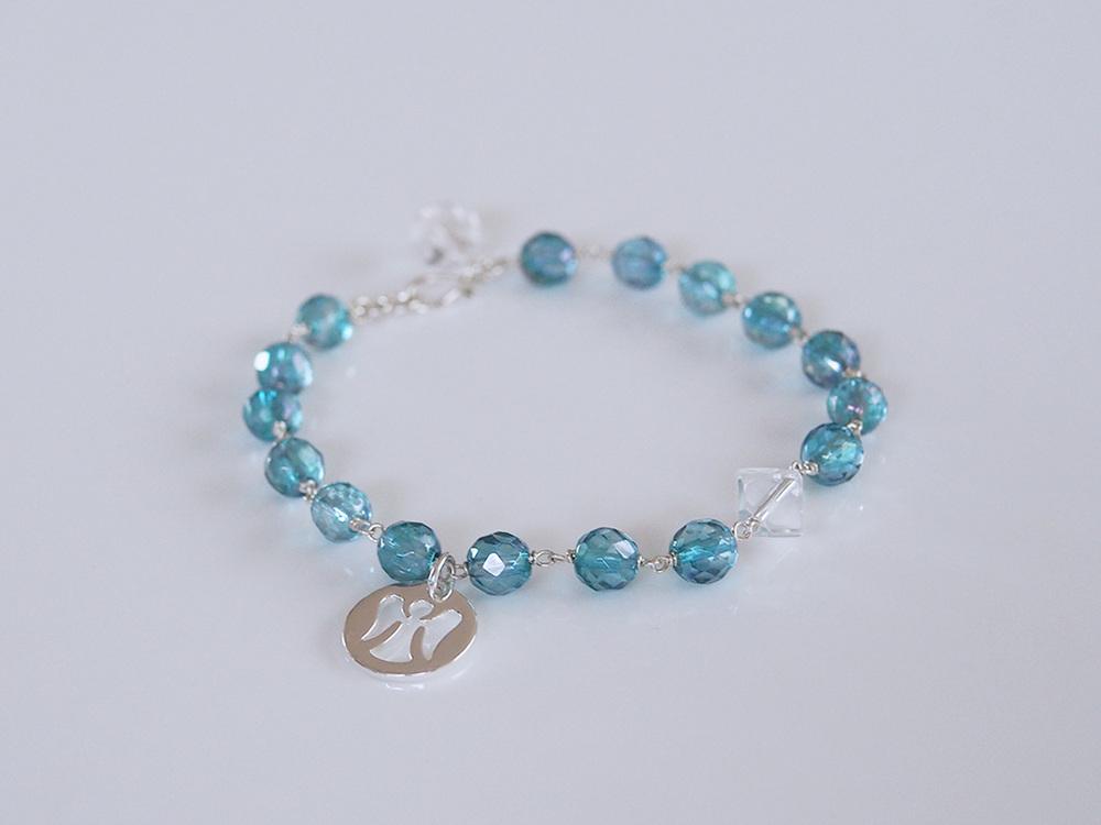 Aqua Aura, Crystal Quartz, Silver