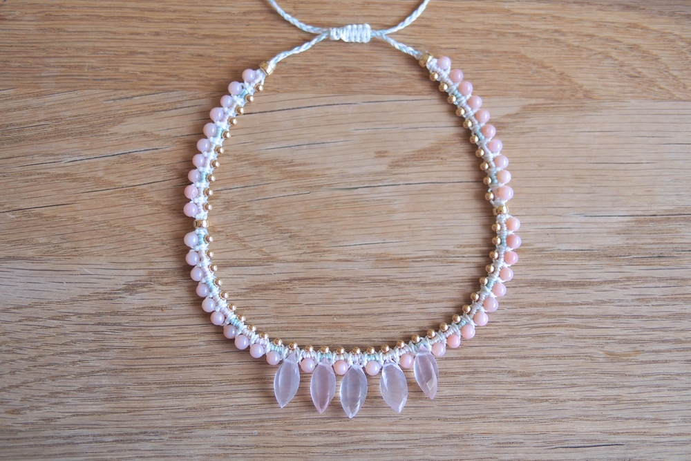 Pink Opal, Rose Quartz Macrame Choker