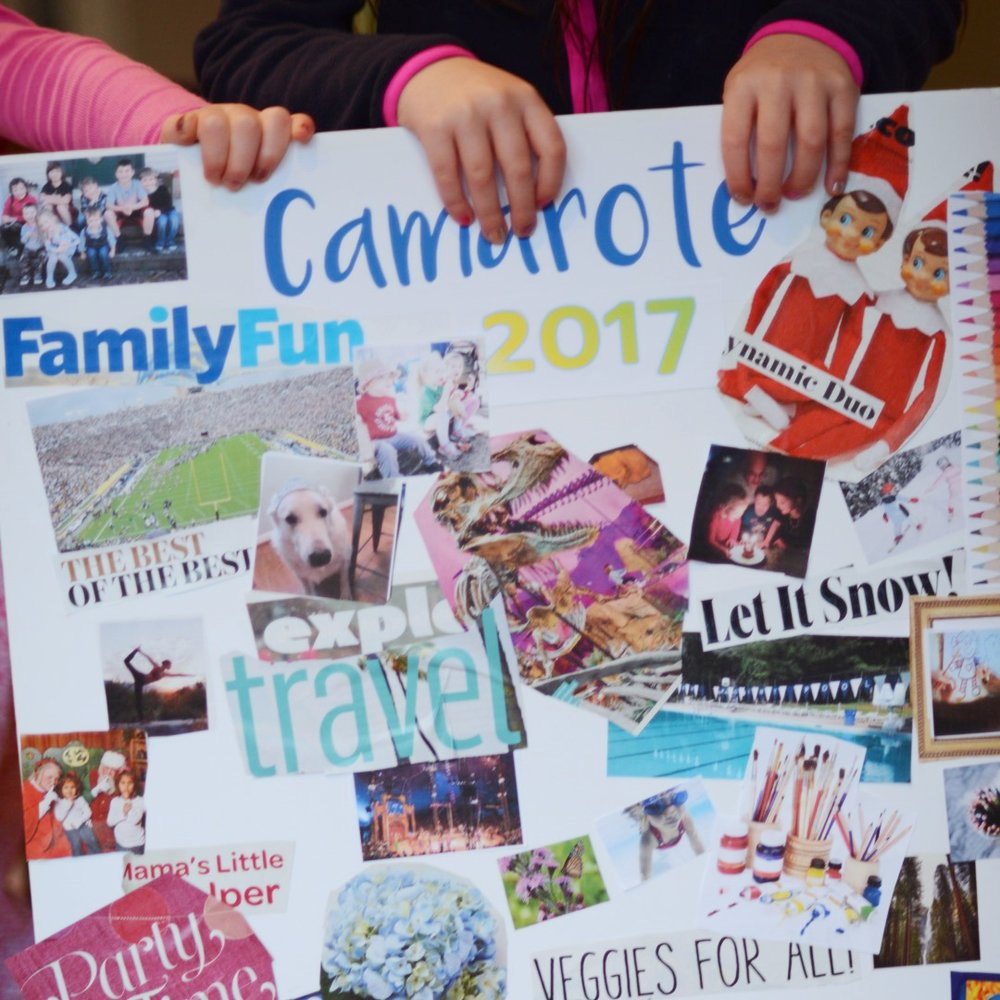 Our 2017 kid-created family vision board