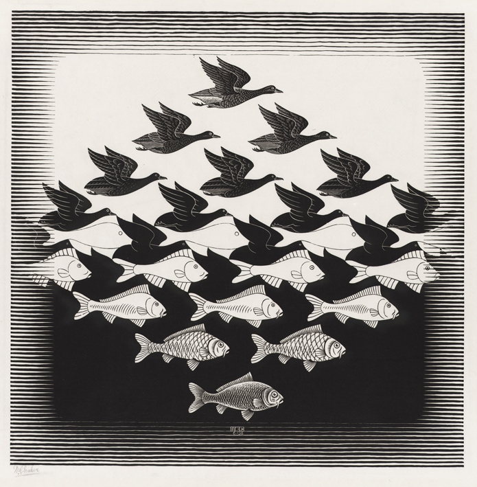Artwork by Escher retrieved from http://www.escherinhetpaleis.nl/wp-content/uploads/2015/03/LuchtEnWaterI.jpg